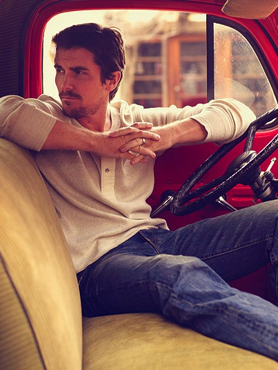 Christian Bale. Being in a vintage red truck just makes him exponentially hotter to me :-D