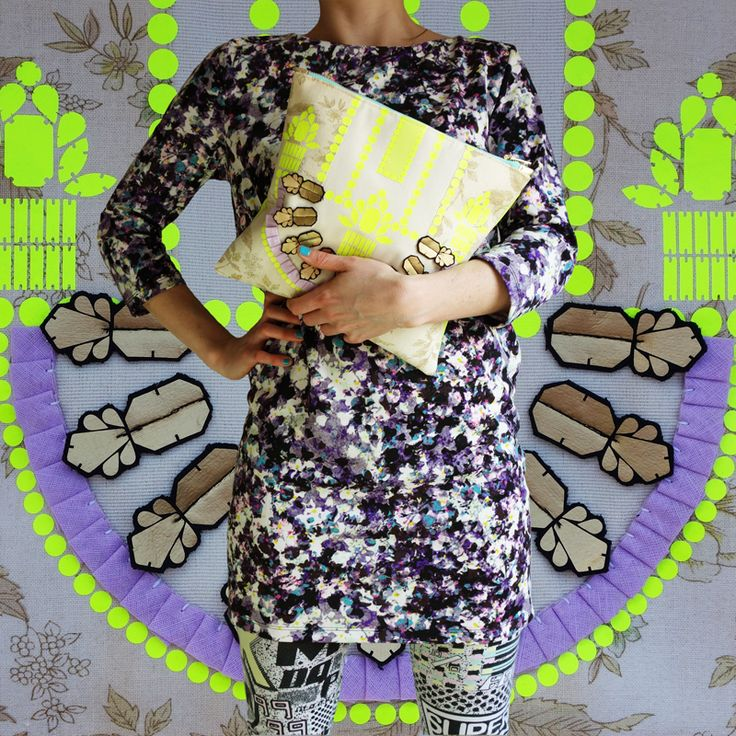 pOW . . . .summer patterns and prints NEON YELLOW, LILAC and GOLD hand embellished clutch  available soon on etsy  dAKOTA rAE dUST.