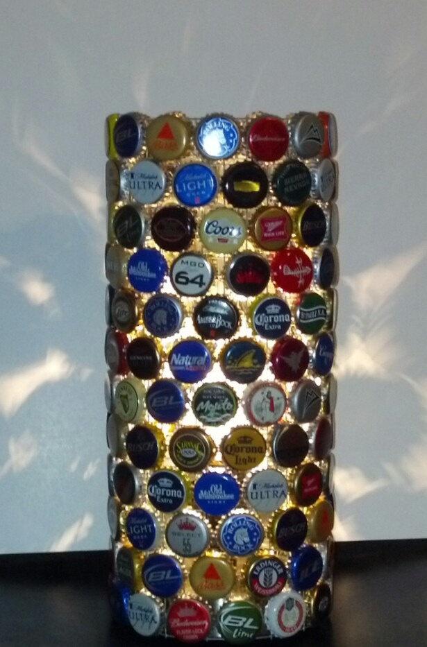 Upcycled Recycled Repurposed Beer Bottle Cap Lamp Man Cave Bar Light Ecofriendly Modern Lighting. $69.99, via Etsy.