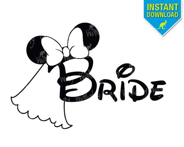 Disney Wedding Bride Minnie Ears Printable Iron On Transfer or Use as Clip Art - DIY Wedding Matching Shirts Disney Bachelorette Party by TheWallabyWay on Etsy https://www.etsy.com/listing/203530841/disney-wedding-bride-minnie-ears