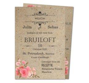huwelijk uitnodigingen vintage rozenknoppen