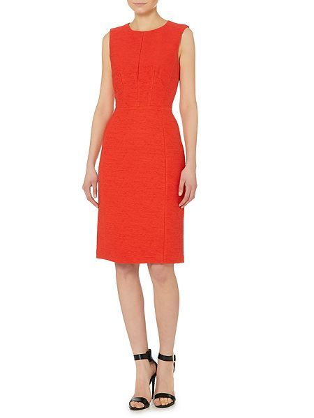Textured sleeveless fit and flare dress