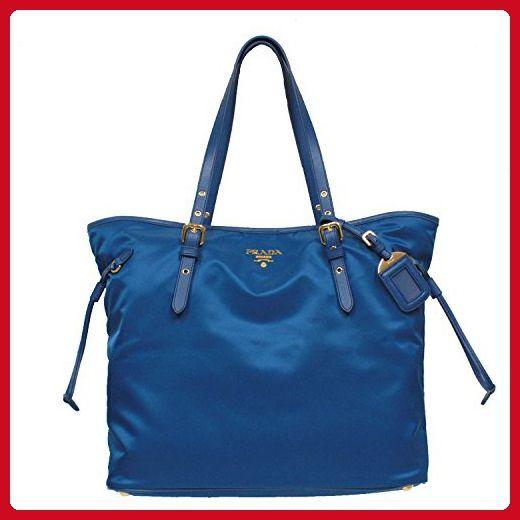 Prada Tessuto Saffian Turquoise Blue Nylon Leather Shopping Tote Shoulder Bag Large BR4997 - Shoulder bags (*Amazon Partner-Link)