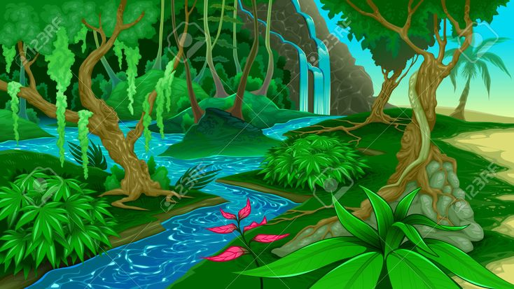 45885754 View In The Jungle Vector Illustration Stock Vector Jungle Cartoon Background Jpg 1300