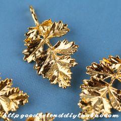 Медным покрытием 24k золото листьев обрези бициклические DIY аксессуары ювелирные изделия ручной работы (2310A)
