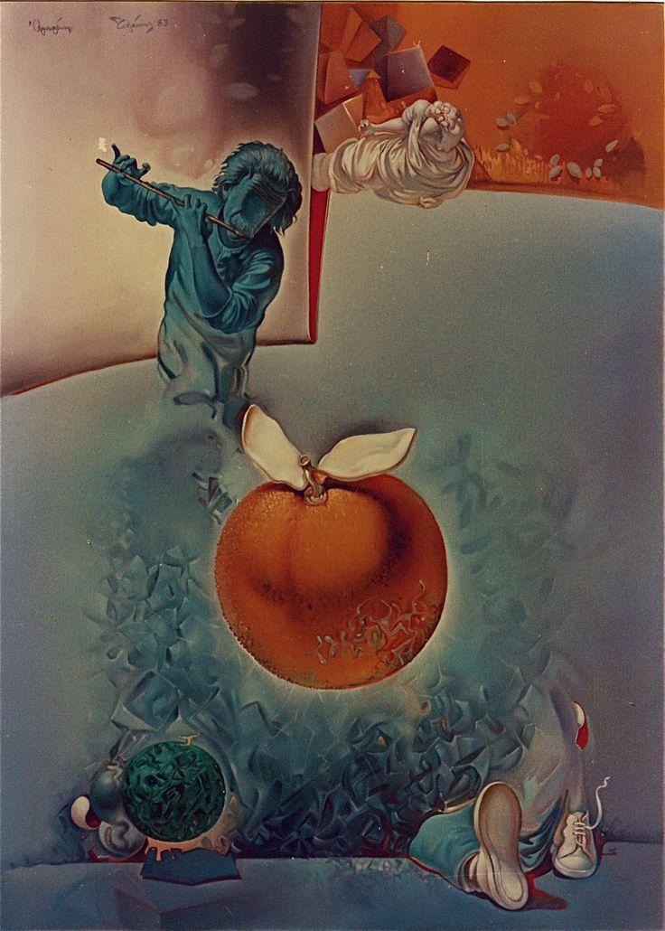 CONCENTRATED SΟUND......... oil on canvas 50X70, 1983.ΗΧΟΣ ΠΥΚΝΩΜΕΝΟΣ......- ἐλαιογραφία σέ καμβᾶ 50X70, 1983. Paintings by Aristomenis Tsolakis, Athens