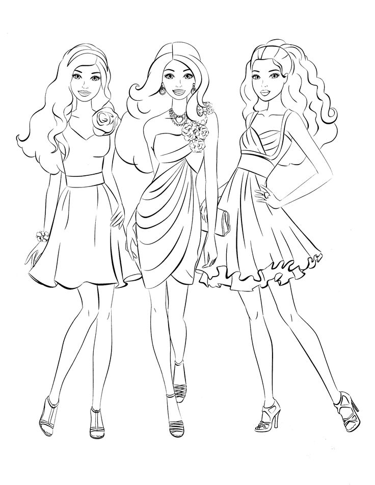 elegant barbie coloring pages free large images