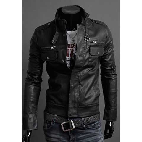Fashionable Slimming Stand Collar Multi-Zipper Embellished PU Leather Jacket For Men