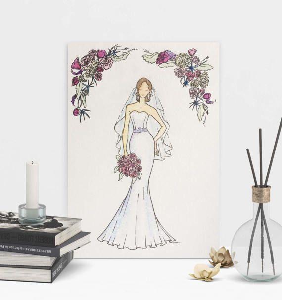 8 best fashion illustrations images on pinterest fashion custom bridal art one of a kind hand painted fashion watercolor illustration for bridesmaid or wedding gift negle Choice Image