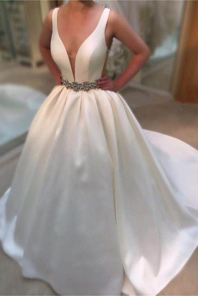 Ivory satins V-neck sequins beading A-line long prom dresses ,elegant evening dresses