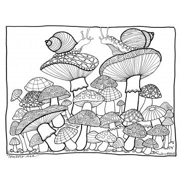 free mushroom coloring page illustrated by marie browning for tombow