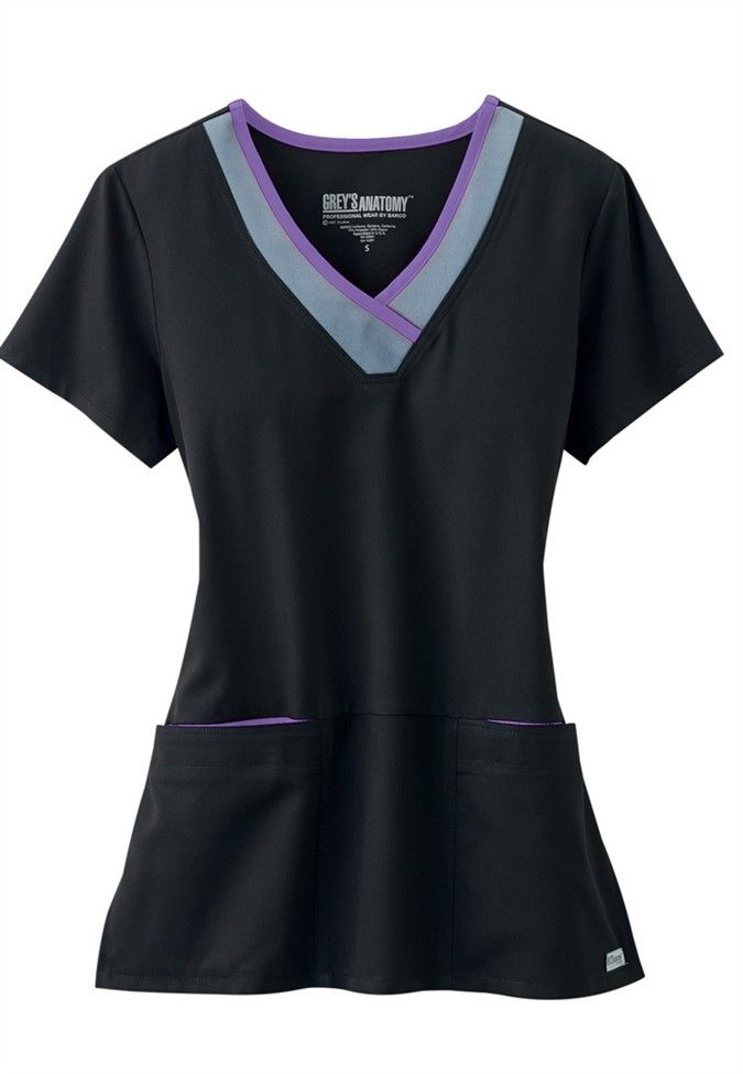 Greys Anatomy Active color block contrast 3 pocket scrub top. - Scrubs and Beyond