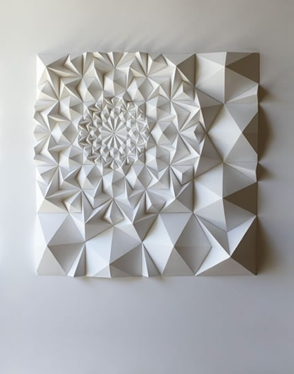 Matt Shlian is an artist, paper engineer and teacher. Beginning with an initial fold, a single action causes a transfer of energy to subsequent folds, which ultimately manifest in drawings and three dimensional forms.