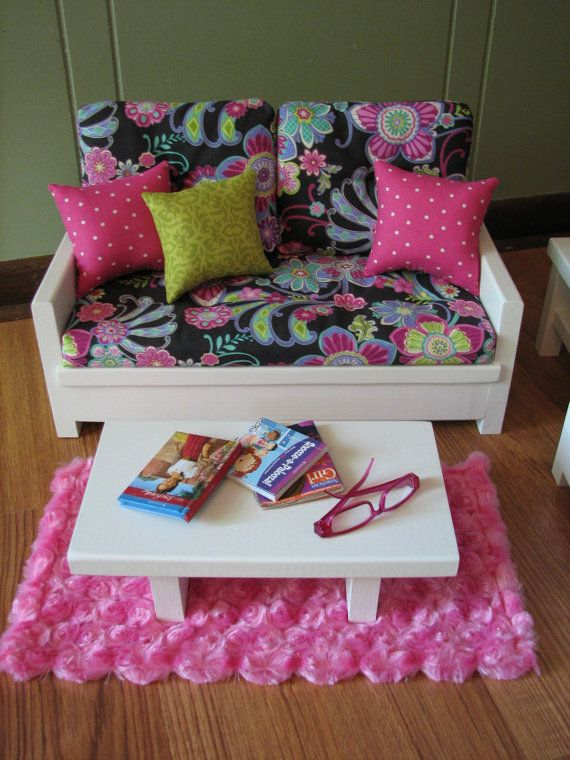 18 Doll Furniture American Girl sized Living by MadiGraceDesigns. Beautiful. Reminds me of Ribbons, vera bradley.