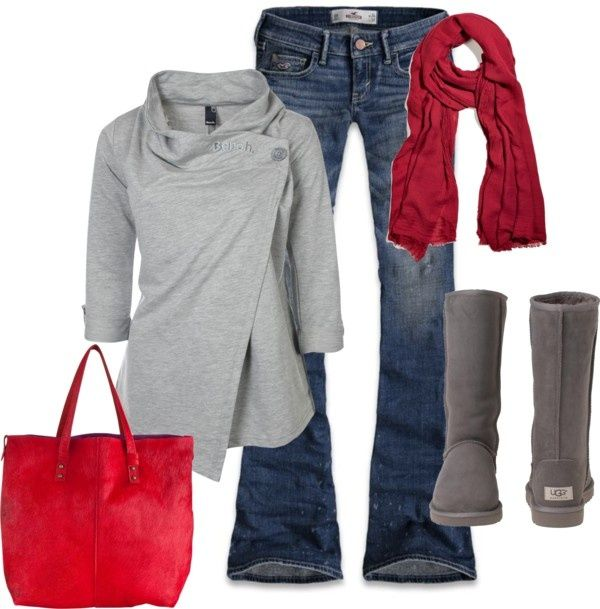cuteCasual Outfit, Fashion, Ugg Boots, Red, Grey Sweater, Style, Clothing, Winter Outfit, Fall Outfit