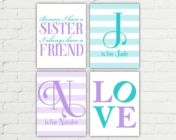 Choose your custom colors to make this sisters wall art a perfect addition to your little girls nursery or bedroom decor!    >>>>>> To order