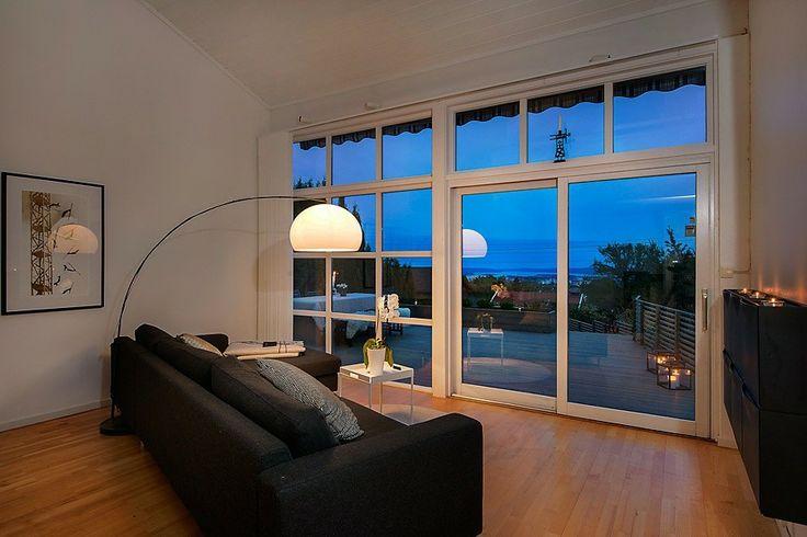 Indoor view of outdoor wood deck