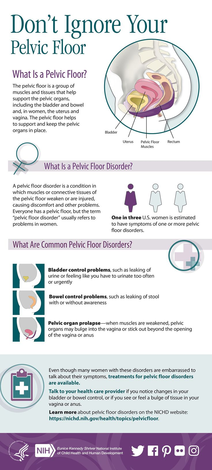 Don't ignore your pelvic floor! It's important to talk to your health care provider if you experience pelvic floor symptoms. #PelvicFloor #PelvicFloorDisorders #PelvicFloorMuscles #PFD