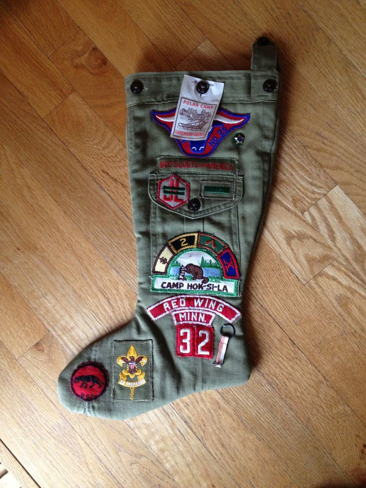My husband's stocking made from his father's childhood Boy Scout uniform.