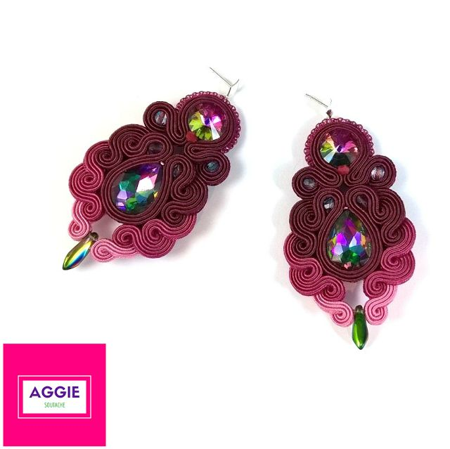 Burgundy ombre soutache earrings