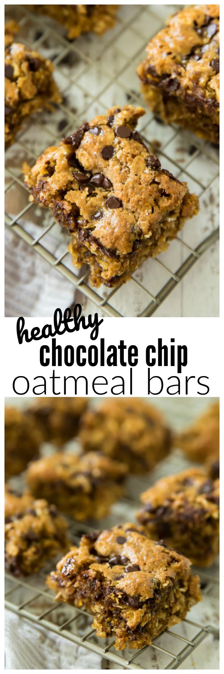 Healthy Chocolate Chip Oatmeal Bars are perfect as a quick and easy on-the-go breakfast, snack, or dessert! They are made with whole grain oats making them as healthy as your morning bowl of oatmeal! @Walmart #AD #StartAHealthyRelationship