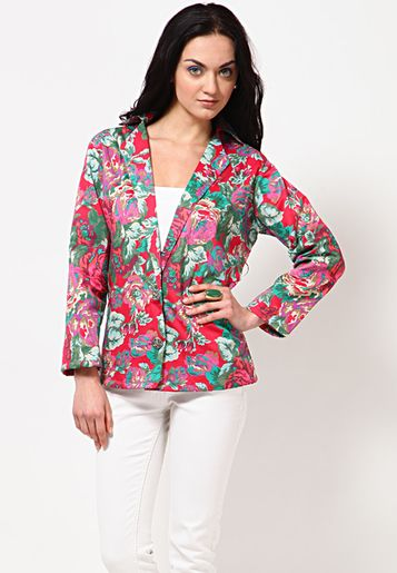 Shibori Designs Rose & Leaf Print Single Breasted Jacket