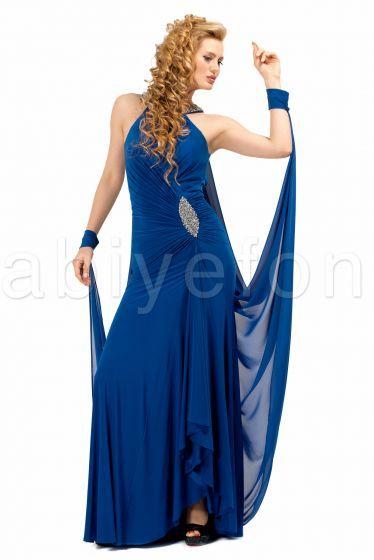 özel tasarım saks mavi abiye elbise