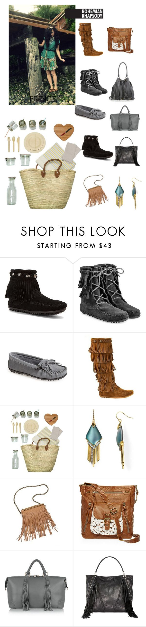 """""""FallFringe"""" by cloudburst612 ❤ liked on Polyvore featuring Minnetonka, ACME Party Box Company, Alexis Bittar, Patchington, T-shirt & Jeans, Eddie Harrop, Calvin Klein and Milly"""