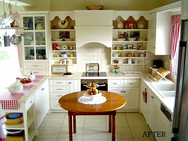Cheerful and down-to-earth. Love the red and white checks and bright knick knacks on the shelves.