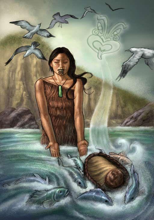 Illustration of Taranga putting baby Māui into the sea, as birds fly overhead