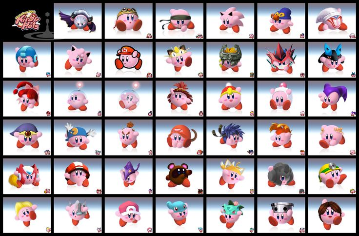 Proximity is shown cause all these Kirby characters have the same base character but slightly changed with an accessory. A grid is also shown to categorize all the different variations of Kirby
