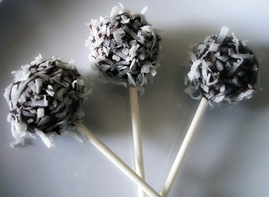 """CHOCOLATE COCONUT """"RUM"""" CAKE POPS!  Get the recipe on our FB page at www.facebook.com/MyTikiIsland"""