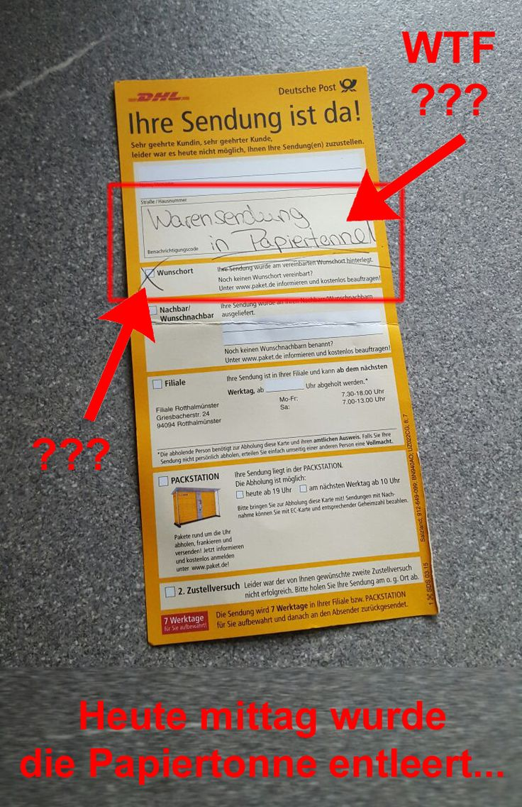 Der Postbote hat die Sendung von einem Freund IN DER PAPIERTONE angelegt, am Tag als diese geleert wurde. Weg ist sie  DHL fail