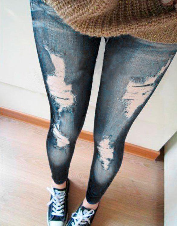 Denim Look Faux Ripped Skinny Leggings