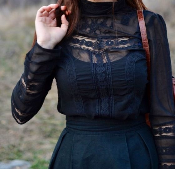 Black Victorian-inspired Dress.