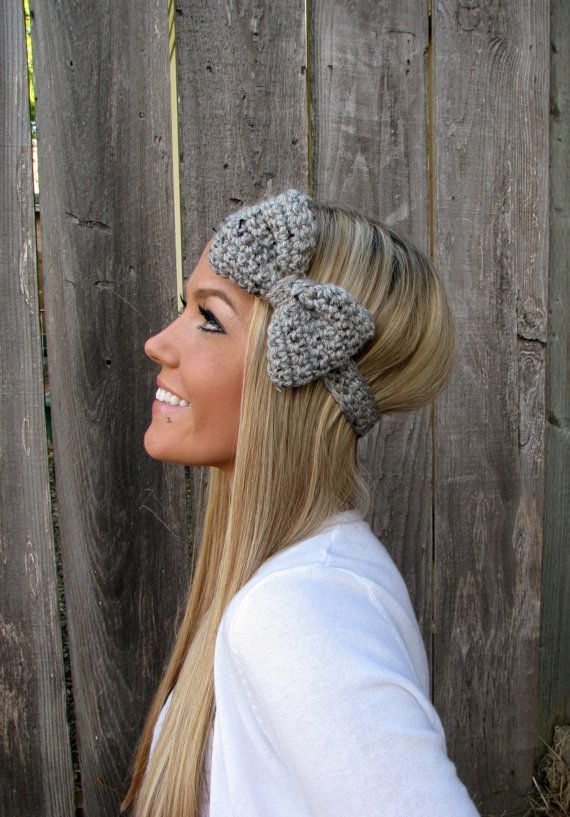 Grey Marble Bow Headband With Natural Vegan Coconut Shell Buttons - Adjustable | Crochet hair accessories, Crochet bows, Headbands