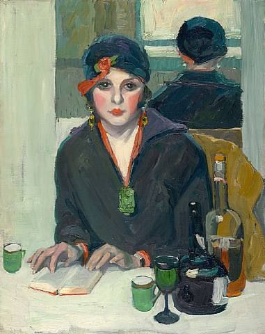 woman reading at table, painting by Jane Peterson