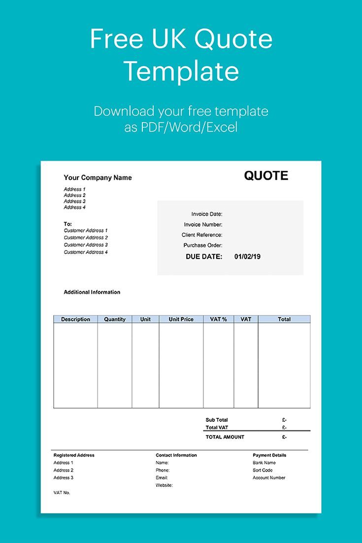Free Uk Quote Template Invoice Template Quote Template Invoice Design