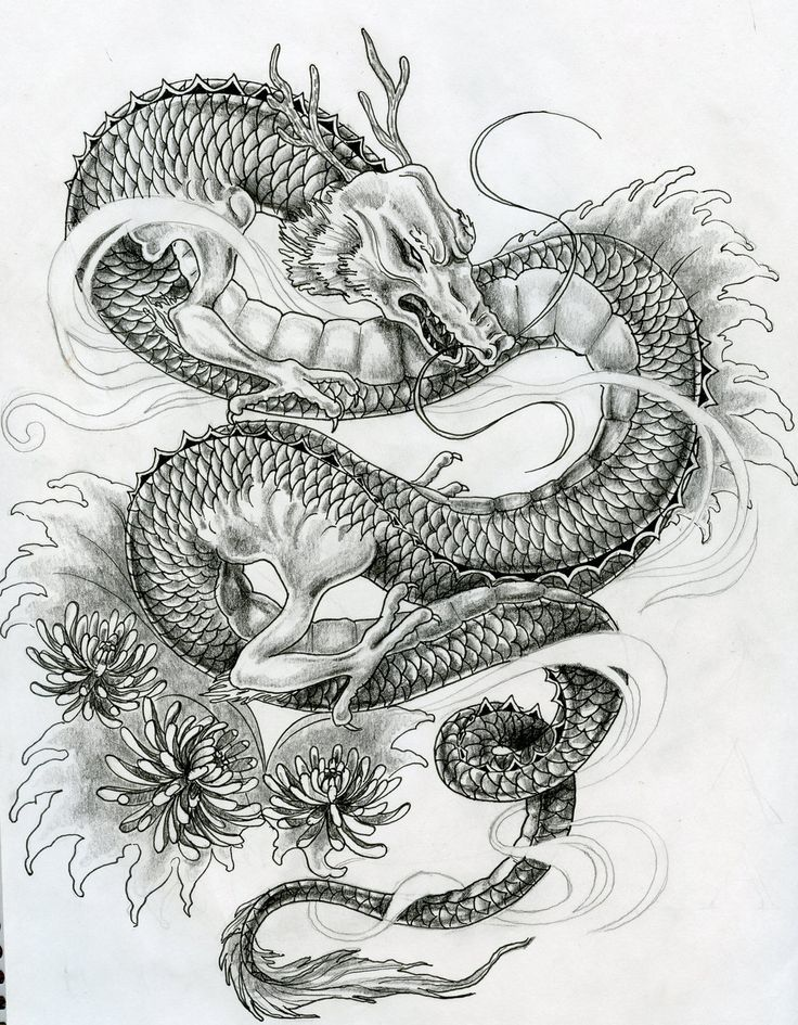 flying japanese dragon in sky painting - Google Search