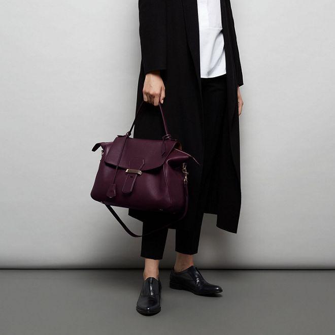 Berkeley Handbag in winter berry calf leather   Smythson