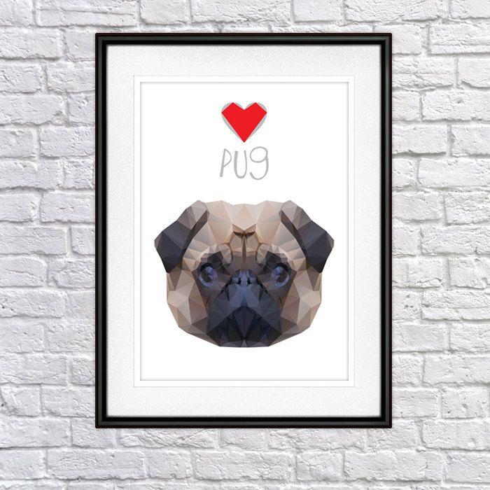 Pug, Mops, Calrlino, Digital Poster Print, Wall Decor by PSIAKREW on Etsy