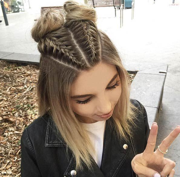 Boxer Braid und Double Space Buns von Jacque Morrison – #hairstylesBun #hairst …, #Boxer #…