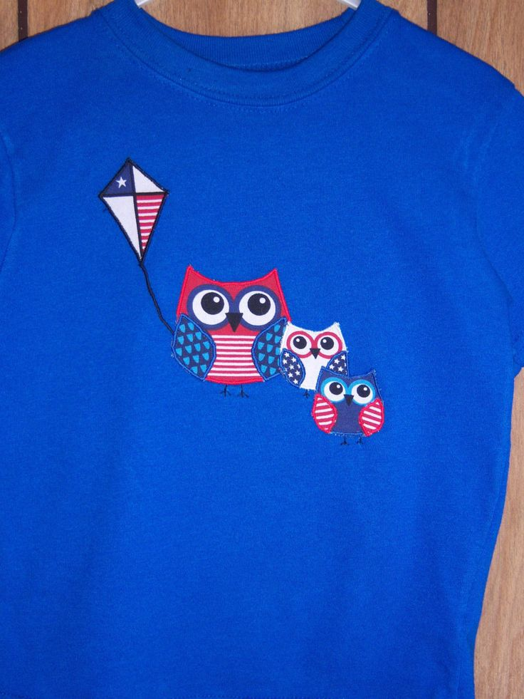 4th of July T-Shirt with an Owl Applique'.  Can be made for boys or girls. by CreativeCreationsDeb on Etsy