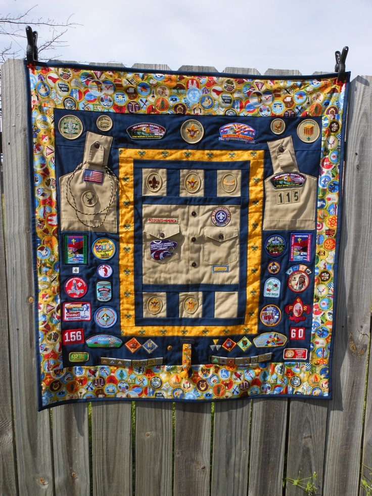 Scouting Memories, made from the first Boy Scout shirt. Eagle patch will go on the pocket and the Life patch will fill the last square.
