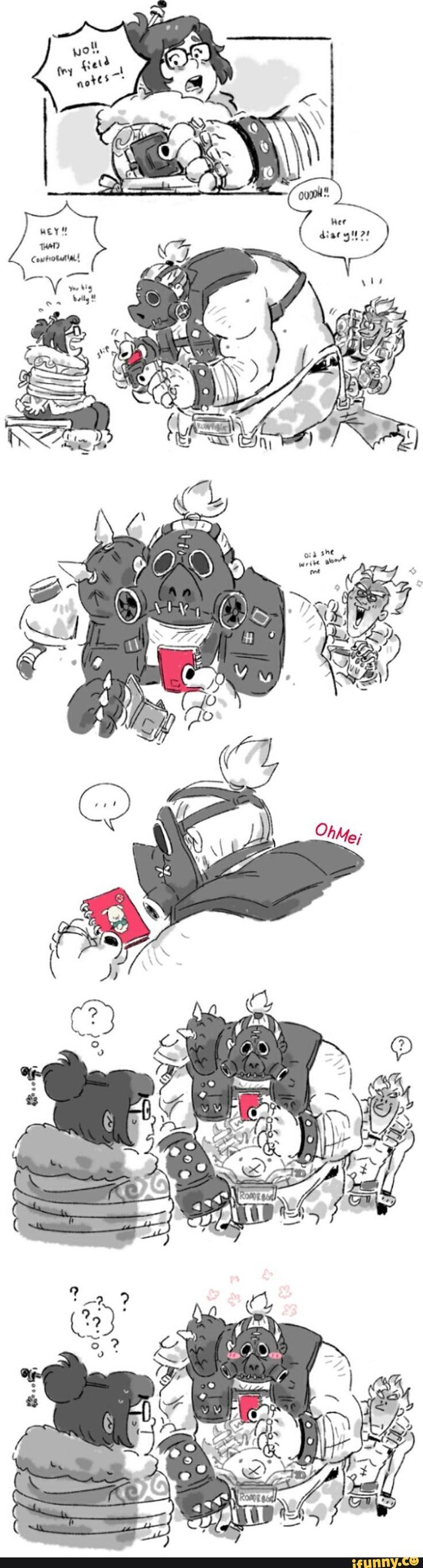 overwatch, mei, junkrat, roadhog, comic
