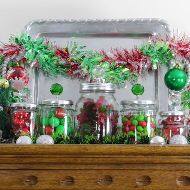 Don't toss your leftover jars before seeing this amazing Christmas idea---Great for Christmas gifts filled with candy!!