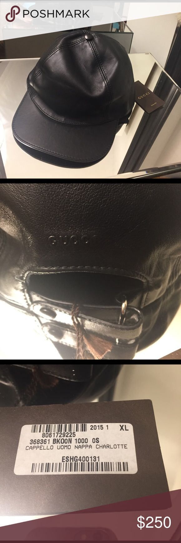 Gucci Leather Baseball Cap Black XL Gucci Nappa Leather Baseball Cap. New with tag. Made in Italy. Size XL. From 2015 collection. Black Nappa Leather with adjustable strap in back. Comes with White and black Gucci shopping bag. Gucci Accessories Hats