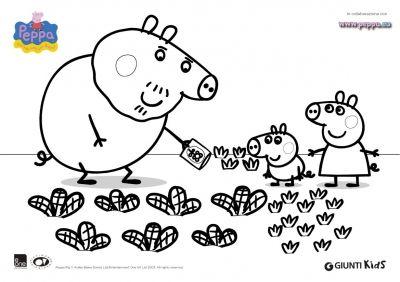 disegno di Nonno Pig sull'orto da colorare