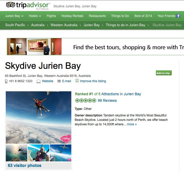 We've got a 5 Star Rating on Trip Advisor with 99 reviews and are ranked #1 tourist attraction in Jurien Bay. Skydive Perth with Skydive Jurien Bay and GET THE RUSH!