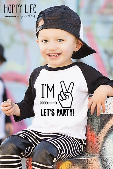 """Your little boy is turning two years old! Let him celebrate in style with this playful and funny t-shirt created just for him. Featuring the phrase, """"I'm 2, let's party!"""" your little one will be styli"""
